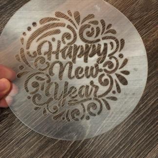 Трафарет «С новым годом на английском языке»