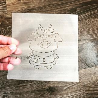 Трафарет «Свинка с рожками»