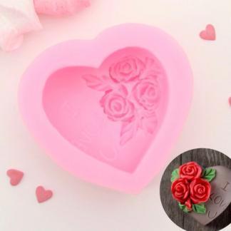 Силиконовый молд «Роза в сердце»