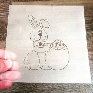 Трафарет «Зайка с яйцом»