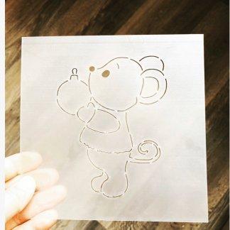Мышка с шариком форма+трафарет