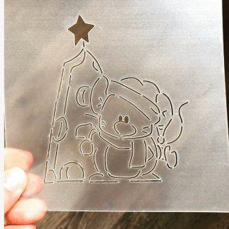 Форма+трафарет «Мышка с сырной елочкой»