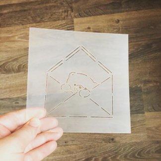 Мишка в конверте форма+трафарет