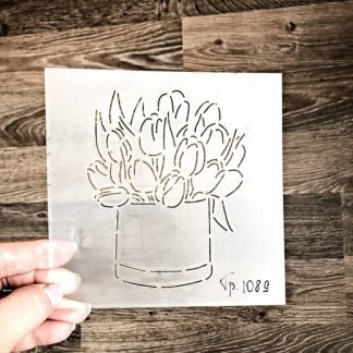 Короб с тюльпанами, Форма+трафарет
