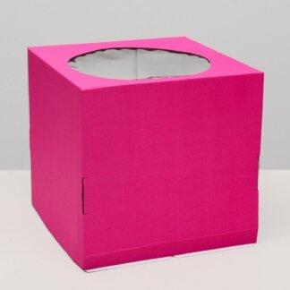 Кондитерская коробка, с окном, розовый, 30 х 30 х 30 см
