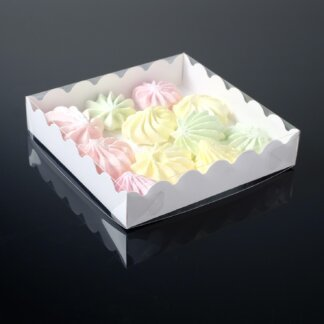 Коробочка для печенья с PVC крышкой, белая, 12 х 12 х 3 см