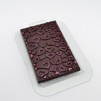 Форма пластиковая для шоколада «Плитка с сердечками»