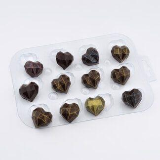 Форма пластиковая для шоколада «Сердечки алмазные»