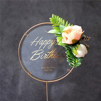 Топпер «Happy Birthday» в металлической рамке (прозрачный круглый, с цветами)
