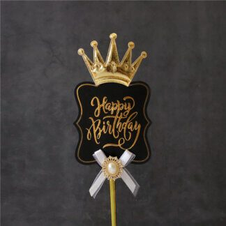 Топпер «Роскошь» Happy Birthday (черная табличка, брошь и корона)