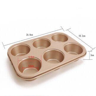 Форма для выпечки с антипригарным покрытием, 6 ячеек (ЦВЕТ ЗОЛОТОЙ)