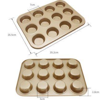 Металлические формы и решетки для выпечки Форма для выпечки с антипригарным покрытием, 12 ячеек (ЦВЕТ ЗОЛОТОЙ)