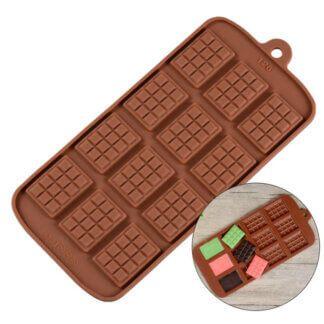 Форма силиконовая для шоколада «Плитки мини» , 12 ячеек
