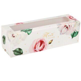 Коробка для макарун «Тебе с любовью», розы, 5.5 × 18 × 5.5 см