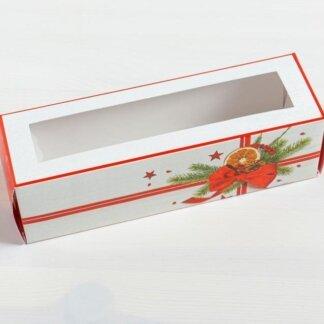 Коробка для макарун «Подарок» 18 х 5,5 х 5,5 см.