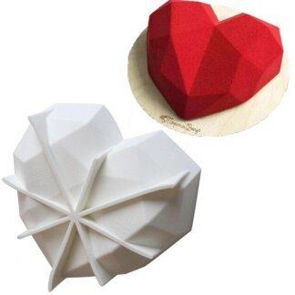 Форма силиконовая «Сердце с гранями 18 см» с ребрами жесткости